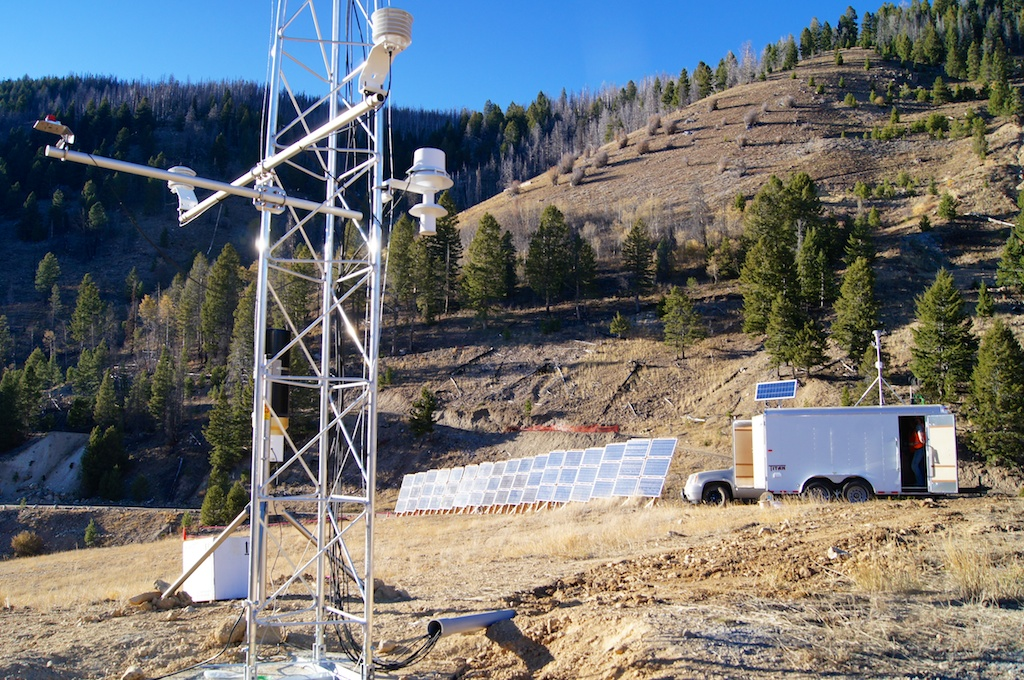 MET trailer, tower and solar power system.
