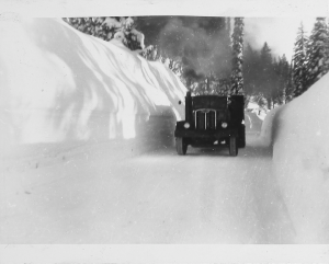 Snowy roads are not new at the Stibnite Gold Project site. Look at this historic photo from our archives!